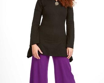 ELVEN SKATER DRESS, long sleeve winter skater dress, hippie festival psy trance clothing, pixie hood dress, psy hippy Goa doof wear