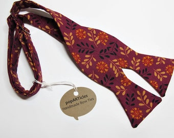 Freestyle Wine Floral Bow Tie - Floral Bow Tie - Handmade Men's Bow Tie - Self-Tie Bow Tie - Burgundy Bow Tie - Calico Bow Tie