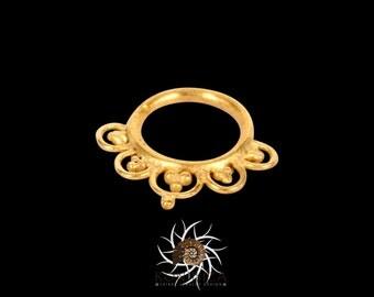 Ajeet Gold Septum Ring - Septum Jewelry - Septum Piercing - Tribal Septum Ring - Indian Septum Ring - Septum Clicker - 18g Septum (G4)