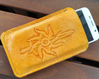 Inquisition phone wallet/sleeve, genuine leather, handmade