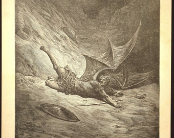 Paradise Lost Print Doré Book Plate Illustration Engraving