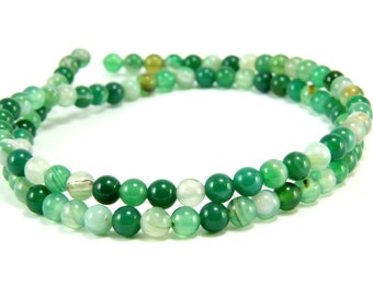 Agate Beads, 4mm Round Green Agate Bead Strands, 1 Full Strand Semiprecious Gemstone Beads, Loose Beads, Agate Bead Findings, FIRST QUALITY