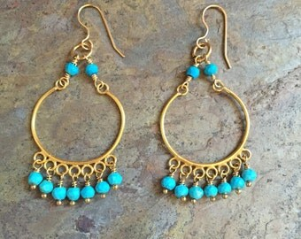 Turquoise chandelier gold earrings
