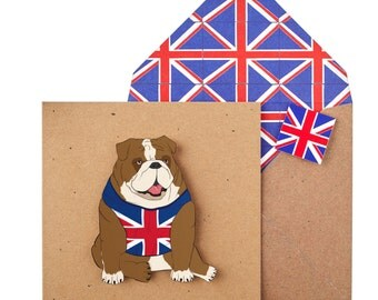 Handmade British Bulldog Greeting Card - Unique Handmade Funny Blank Card with Union Jack Printed Envelope - Personalised Card / Gift