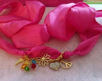 Peace Silk Wrap Bracelet, Peace Wrap Bracelet, Hot Pink Wrap Bracelet