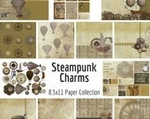 Digital Paper 8.5x11 INSTANT DOWNLOAD 13 Pack Steampunk Charms Collection Vintage Industrial Grunge Victorian