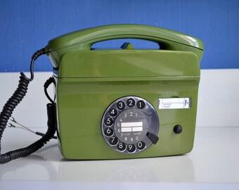 Wall Mount Telephone, Vintage Rotary Phone, Fully Working Vintage Phone, German Retro Phone, Rare Rotary Telephone, Retro Home Decor, Gift