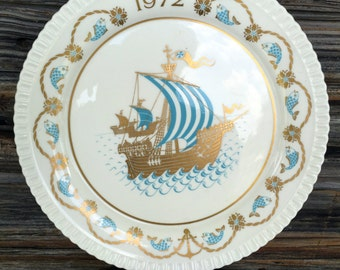 Spode, Christmas Plate, 1972, Collectors Plate, I Saw Three Ships Song, China, Home Decor, Holiday Plate, Vintage Plate