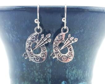 Artist's palette earrings - painters earrings - artist earrings - paint palette earrings - paintbrush earrings - artistic earrings #66