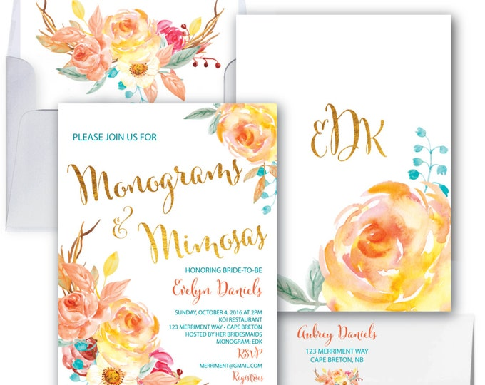 Fall Monograms and Mimosas Invitation // Bridal Shower // Floral // Blue // Orange // Gold // Yellow// Watercolor // CAPE BRETON COLLECTION