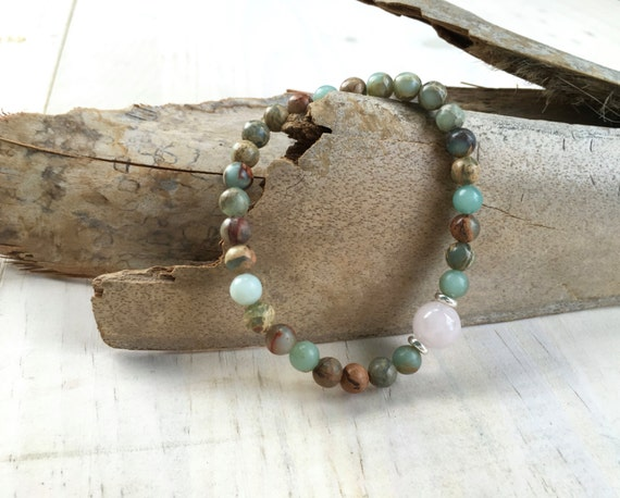 African Opal And Rose Quartz Boho Bracelet, Boho Stretch Bracelet, Mala Inspired Bracelet, Hippie Style Jewelry, Beach Jewelry, Yoga Gifts