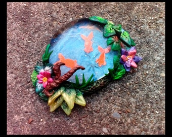 Fairy garden goldfish Koi Pond with water lilies plants and Moss hand made in polymer clay and glass for miniature garden Terrariums Teacups