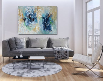 LARGE ABSTRACT Painting Free Shipping Large Wall Art Original Painting Blue White 120 CM Large Canvas Blue Texture Palette Knife Pastel Art