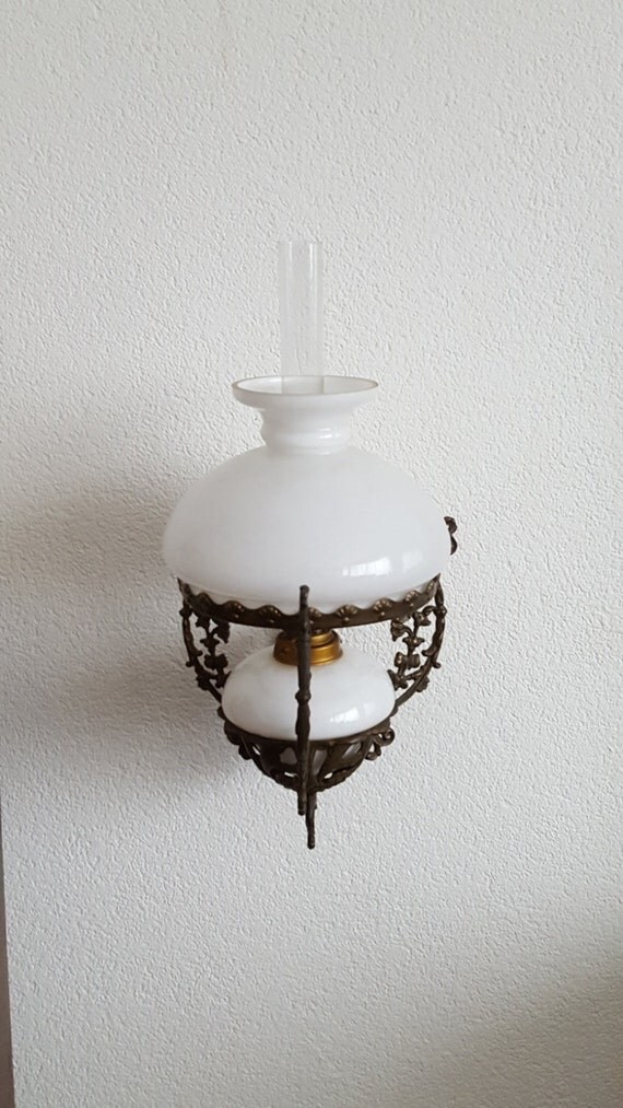 Antique French A&P Gaudard wall mounted Oil lamp Milk glass