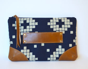 Leather Clutch, Navy Blue and Leather Clutch Purse, Clutch with Handle