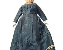 Antique Large High Brow China Doll Head Grey Hair Civil War Victorian Doll