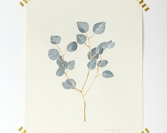Silver Leaf Eucalyptus Watercolor Painting