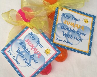 Summer Bubble Wand End of School Tags - Printablable PDF File - Instant Download