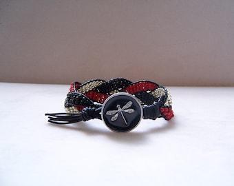 Dragonfly Beaded Braided Leather Wrap Cuff Bracelet, Beaded Leather Cuff, Dragonfly Bracelet, Dragonfly Jewelry, Leather Jewelry