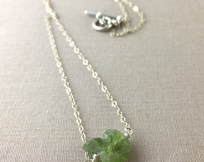 Raw Peridot Necklace // raw gemstone necklace, raw crystal necklace, peridot nugget, jewelry under 35, boho necklace, august birthstone