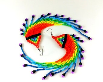 Extra Long Rainbow Beaded Earrings - Dangle Long Rainbow Seed Bead Earrings Fringe - Very Long Earrings Bead - Super Long Earrings Rainbow