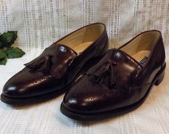 Vintage Bostonian Oxblood Leather Wing Tip Tassel Loafers Size 10
