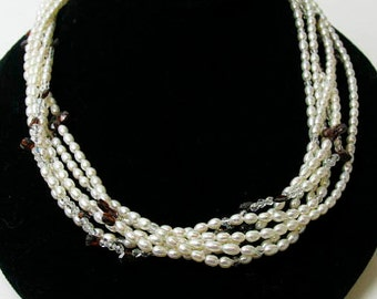 Freshwater Pearls and Garnet Necklace