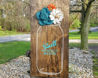 Ball Jar Sign, Flower Vase Sign, Flower Jar Sign, Mason Jar Sign, Wooden Signs, Floral Sign, Flower Decor, Mason Jar Decor, Home Decor