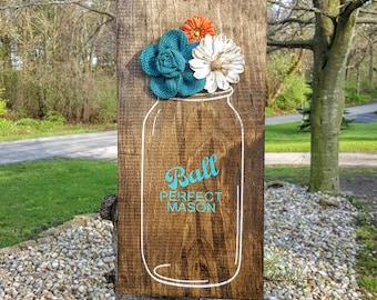"Ball Jar Sign, Flower Vase Sign, Flower Jar Sign, Mason Jar Sign, Wooden Signs, Floral Sign, Flower Decor, Mason Jar Decor, 14.5"" x 7.5"""