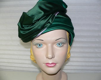 Vintage 1950s - 1960's Lilly Dache Turban Style Hat /Green Satin Silk Turban Hat