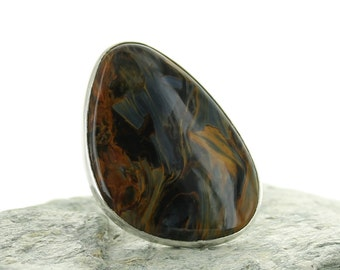 Silver ring with Pietersite. Size 8.25. Natural stone. Pietersite cabochon. Gemstone ring. Black and brown Pietersite ring. Pietersite jewel
