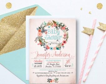 Retro wreath baby shower invitation, Rustic wreath girl baby Shower Invitation, Pink Wreath baby Shower invitation, free thank you card, WR