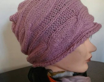 Pink Hand Knit Cable Hat Mohair And Acrylic