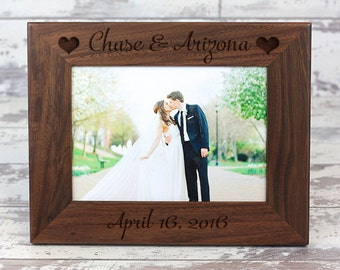 Personalized Picture Frame, Wedding Picture Frame, Walnut Picture Frame, Personalized Photo Frame, Custom Photo Frame, Wedding Gift, Gift