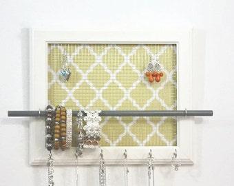 Jewelry holder 10 x 12 - White Jewelry Frame Quatrefoil Pattern in Yellow And White Jewelry Holder Jewelry Organizer