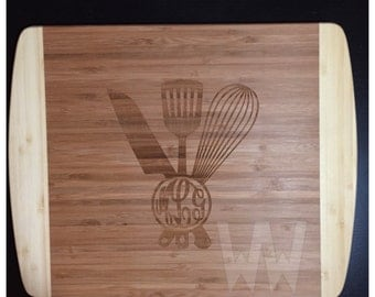 Monogrammed Kitchen Utensils Cutting Board - Personalized Kitchen Decor - Wedding Gift - Gift for Foodie, Chef, Cook - Mother's Day Gift