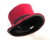 Magician Top Hat, Red Black Velvet Hat, Man Red Formal Hat, Performer Top Hat, Parade Regalia, Renaissance Fair Costume Top Hat, Man Couture