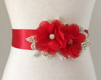 Red Sash-Red Bridal Sash-Red Flower Sash-Wedding Sash-Red Wedding Sash-Red Belt-Maternity Sash-Rhinestone Red Chiffon Flowers Sash