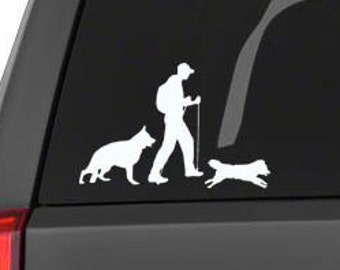 Decal vehicle window sticker -  Male hiker with two dogs (choose your hiker and choose your dogs)