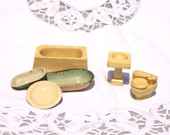 Dollhouse bathroom furniture, vintage wooden miniature furniture, dollhouse bathtub, pedestal sink, toilet and three metal bowls/triughs