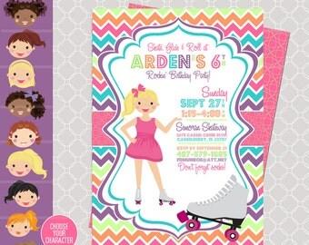 Roller Skating Invitation - Skating Invitation - Roller Blading printable - Skating Birthday Party - Girl Birthday Invitation - Skate