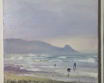 "Surfing at Newgale 12x10"" oil on canvas original unframed palette knife painting"