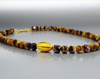 Tiger eye necklace with 14K gold element and clasp -gift idea- unique modern design - statement necklace - multi color stone -gold and brown