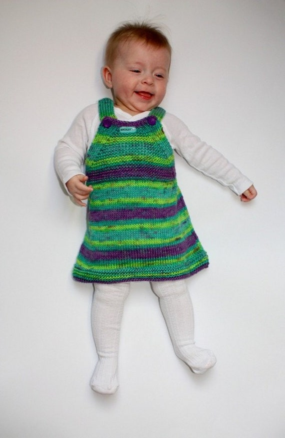 6 Month Old Baby Gifts Uk : Hand knitted baby girl dress green violet size months old
