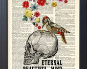 Skull and flowers Eternal Beautiful Mind poster, Dictionary Print, Book pages Art, Gift poster, College Dorm home wall decor, CODE/189