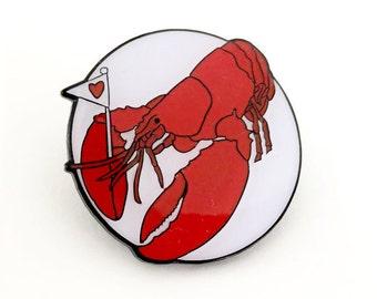 Lobster of Love enamel lapel pin badge