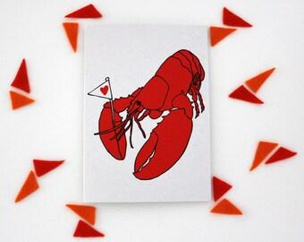 Lobster of Love hand screen printed greetings card
