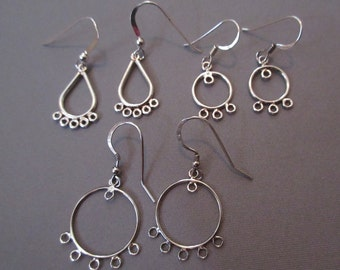 Sterling Silver Chandelier Earring Connectors with Loops (3-Pairs in Three Shapes and Sizes)