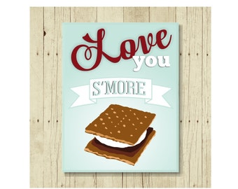 Funny Magnet, Food Pun, Love You S'more, Graham Cracker, Gift for Kids, Gift for Dad, Cute Fridge Magnet, Cute Magnets, Gifts Under 10