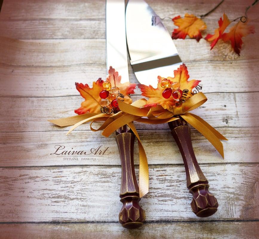 Fall Wedding Cake Server Set Knife Fall Wedding Cake Cutting